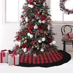 Black Christmas Tree Decorations, Country Christmas Trees, Black Christmas Trees, Plaid Christmas, Holiday Tree, Holiday Ornaments, Christmas Crafts, Classy Christmas, Christmas Stuff