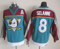 "$34.88 at ""MaryJersey""(maryjerseyelway@gmail.com) Ducks 8 Teemu Selanne Red-Turquoise CCM Throwback Stitched NHL Jersey"
