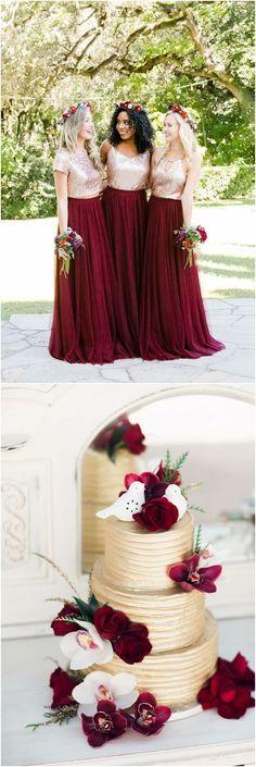 Gold and burgundy wedding color ideas #weddings #goldweddings #weddingcolors #weddingideas ❤ http://www.deerpearlflowers.com/gold-wedding-color-ideas/
