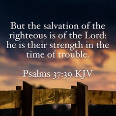 Psalms But the salvation of the righteous is of the LORD: he is their strength in the time of trouble. Bible Verses Quotes, Bible Scriptures, Faith Quotes, La Sainte Bible, King James Bible Verses, Soli Deo Gloria, Favorite Bible Verses, Praise God, Faith In God