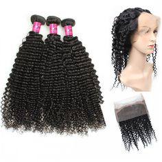 One More Indian Virgin Human Hair Kinky Curly Hair 3 or 4 Bundles With 360 lace Frontal ,Indian Virgin Weft Kinky Curly Virgin Remy Hair Extensions #indianhair #360lacefrontal