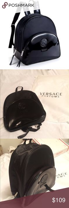 Versace Parfums Backpack 🎒 Versace Parfums Backpack 🎒 Limited edition Come with Dust bag.  100% Authentic Color - Black  Measurements- 12 x 12 x 6 Medusa Head and Versace Parfums leather patches The Backpack is made of quality material and very stylish. Zipper and two compartment inside and all over Versace Parfums black lining.  Padded Adjustable straps with iconic Greek key design. Versace Bags Backpacks
