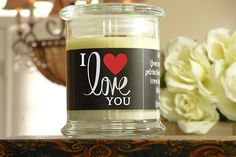 I Love You Candle Card  Gift of a Natural Soy Candle Greeting