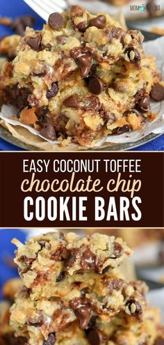 Ooey gooey Coconut Toffee Chocolate Chip Cookie Bars that are simply irresistible! This easy dessert recipe is great for parties and potlucks or when you're simply craving for something sweet. This will definitely become a new favorite! Toffee Cookies, Chocolate Chip Cookie Bars, Cookie Brownie Bars, Chocolate Toffee, Bar Cookies, White Chocolate, Easy Cookie Recipes, Brownie Recipes, Easy Dinner Recipes