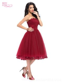 Glamour Strapless Appliques A-Line Tea-Length Homecoming Dress Homecoming  Dresses 2015- ericdress. Cheap Bridesmaid ... 1b96266422a1