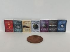 """Full set 7 x Dolls House Miniature """"GAME of THRONES"""" BOOKS Handmade 1:12th Scale"""