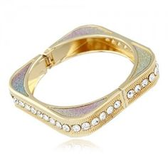 Elegant Rhinestoned Inlaid Square Circle Combination Bangle - Multicolor