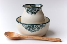 Ceramic Creamer and Sugar Bowl in Teal by RossLab on Etsy, $34.00