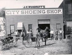 Vintage photo of J. Woodruff's City Shoeing Shop in Jackson, Michigan Spring Arbor, Grass Lake, Jackson Michigan, State Mottos, Lake Garden, Dundee, Great Lakes, Brighton, Vintage Photos
