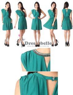 Beaded collar dress in emerald.