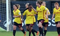 Watford, who have not applied to be part of the new semi-professional league, celebrate scoring against Tottenham in last month's FA WSL2 game.