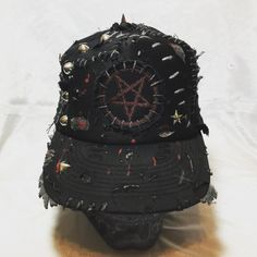 PentaTrash hat. Pentagram distressed, punk rock hat from ChadCherryClothing.