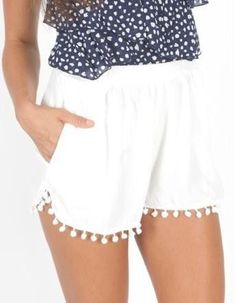 Pom poms make short wearing more fun! (pom pom tops summer outfits)