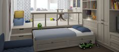 Подиум с выдвижными кроватями и ящиками прекрасно подходит для детской. В этой комнате свободное пространство очень важно, а вещей у ребенка больше, чем у обоих взрослых. Кровать-подиум решает обе задачи.