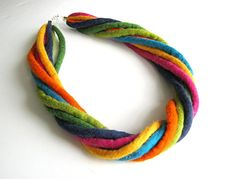 Felted necklace collar hand felted  rainbow necklace by Dagneart, $35.00
