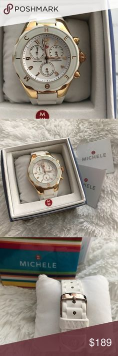 "Michele white jelly watch White jelly watch in EUC Face has no scratches only some dust has gotten in a tiny side by #9 not noticeable when wearing. Face is roughly 1.5"", comes with box authenticity card and booklet. Originally $395. Please see all pictures as they best describe the watch. Michele Accessories Watches"