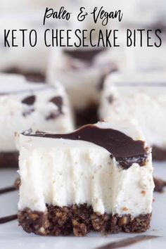 These paleo & vegan keto cheesecake bites are rich and decadent with a soft, super creamy texture and taste just like the real thing! #ketocheesecake #paleocheesecake #soyfreecheesecake #glutenfreecheesecake #dairyfreecheesecake #vegancheesecake #cashewcheesecake Chocolate Swirl Cheesecake, Cashew Cheesecake, Dairy Free Cheesecake, Cheesecake Bites, Paleo Keto Recipes, Paleo Vegan, Low Carb Recipes, Paleo Dessert, Treats
