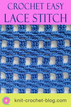 Learn to crochet this easy and versatile block lace stitch pattern. Includes a step by step video and a crochet chart to learn this relaxing stitch. Use the stitch for blankets, wraps, table cloths, scarves, bags and more. #freestitchpattern #freecrochetpattern #crochetstitches Different Crochet Stitches, Easy Crochet Stitches, Crochet Stitches For Beginners, Crochet Chart, Crochet Blanket Patterns, Knitting Stitches, Stitch Patterns, Knitting Patterns, Knit Crochet