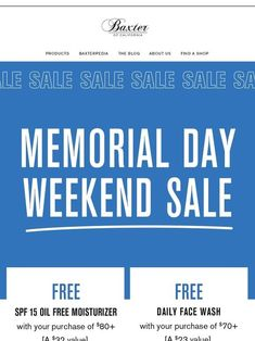 Milled has emails from Baxter Of California, including new arrivals, sales, discounts, and coupon codes. Captain Obvious, Baxter Of California, Mothers Day Special, Email Newsletters, After Shave Balm, Happy Earth, Weekend Sale, Clams, Smell Good