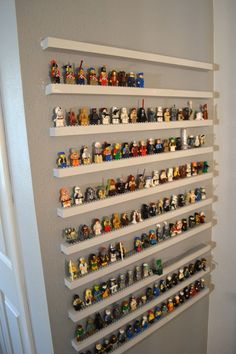 Smart Tricks To Keep Your Kids Organized DIsuch a cute idea for a kids playroom with characters to display when not playing with them.DIsuch a cute idea for a kids playroom with characters to display when not playing with them. Toy Storage, Storage Shelves, Lego Shelves, Wall Shelves, Display Shelves, Closet Storage, Storage For Legos, Craft Storage, Display Cases