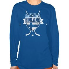 "Finnish Hockey #Suomi Women's T-shirt. This design is available on a wide range of apparel for men, women, children and babies! Check out the ""Hockey Nations"" department in my store: http://www.zazzle.com/gamefacegear*/ #HockeyTShirts"