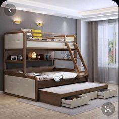 Attractive Triple Bunk Bed Design Ideas For Your Kids Bedroom Design Bunk Beds For Boys Room, Bunk Bed Rooms, Bed For Girls Room, Loft Bunk Beds, Wooden Bunk Beds, Kid Beds, Kids Bedroom, Bedrooms, Kids Rooms