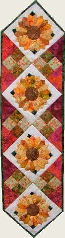 quilt, fabric, virginia robertson, pattern, applique, foundation piecing, paper piecing, color symphonies, doll pattern, fairy pattern, jester pattern, wallhanging, clothing, bag, cortez, quilted, fabri-quilt, Bali, bead, beading, material, yardage, quilt kits, wholesale, Osage County Quilt Factory - Sunflower Patch Table Runner Kit