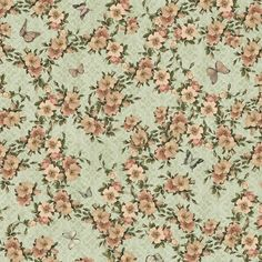 Quilting Treasures - Pretty flowers and little butterflies design on a green background, cotton from the Quilting Treasures Santoro Mirabelle cotton collection Sage One, J Craft, Victorian Costume, Flowering Vines, Butterfly Design, Green Backgrounds, Amazon Art, Paper Background, Fabric Swatches