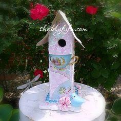 $100 Shabby Cottage Romantic Mosaic Birdhouse-