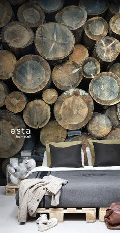 Mural wood logs 158206 behang Brooklyn Bridge Esta Home Interior And Exterior, Interior Design, Wood Logs, Creative Walls, Home Wallpaper, Inspiration Wall, Wall Treatments, Rustic Interiors, Own Home