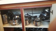Pots and pans in storage
