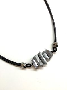 Mens Leather Necklace w/ Crystal. Cool Guys by pearlatplay on Etsy