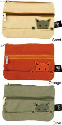 Sweet little bag with personality -- Curious Cat Cosmetic Bag --  purchase benefits Animal Rescue via The Animal Rescue Site