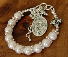 St.Ann Chaplet. Catholic Baptism. Pearls Prayer Beads.Personalized Rosary. Godparent Gift. Protection,Rosary Bracelet.