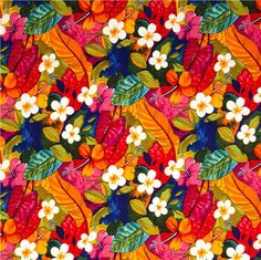 colourful flowers and leaves fabric by Alexander Henry 2
