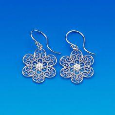 65 OFF SALE  Sterling Silver Flower Hook Earrings by GianniDeloro, $15.00