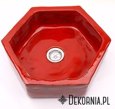 Hexagon, red washbasin, unique washstand, handmade original ceramics, unusual designs  #hexagon #red #redsink #sink #unusual #interiordesign #washstand #bathroom #kitchen #idea #czerwonaumywalka #umywalka #ręcznierobione #handmade #ceramika #czerwień #wnętrza #dekornia