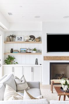 Sisustus keittiö Three Arch Bay Project — Pure Salt Interiors Types Of Persian Rugs Persian rugs can Home Living Room, Built In Shelves Living Room, Home, Home Fireplace, Family Room Design, Living Room Shelves, Cottage Living Rooms, Floating Shelves Living Room, Cottage Living