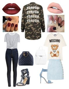 2 Ways 2 Wear a Camo Jacket (night and day) by vyotsitsh on Polyvore featuring polyvore, fashion, style, Moschino, T By Alexander Wang, Barbour, Balmain, Sam Edelman, Gianvito Rossi, Lime Crime, Chanel and clothing