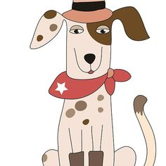 'Funny Cartoon Pets Cowboy Dog' by peacockcards Dog Lover Gifts, Dog Lovers, Yorkie, Chihuahua, Cartoon Pets, Dog Poster, Labradoodle, Westies, Rescue Dogs