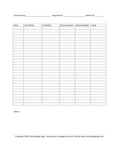 Vehicle Mileage Log - Expense Form - Free PDF Download | Best Free ...