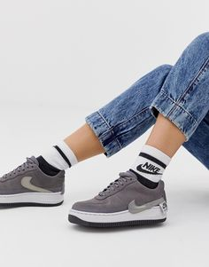 89f7e34669e48 Nike Grey Air Force 1 Jester Trainers