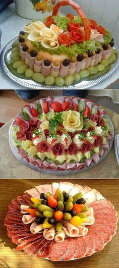 Stunningly beautiful cutting for festive . Appetizers For Party, Appetizer Recipes, Snack Recipes, Cooking Recipes, Snacks, Catering Buffet, Catering Food, Deli Tray, Meat And Cheese Tray