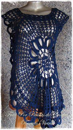 * Pérolas do Crochet: Blusa em crochet Modelo Ana Maria SEM mangas