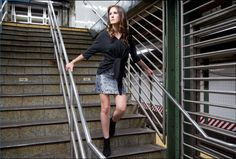 Harriet embossed silver skirt with the Jax top. Silver Skirt, Fall Winter, Autumn, Work Looks, Central Park, Fitness Fashion, Skyscraper, Leather Skirt, Street Wear