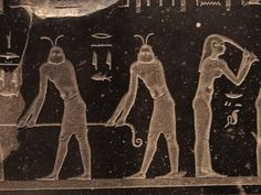 Ancient Egyptian Art featuring two different types of beings; or perhaps just different clothing. (???)