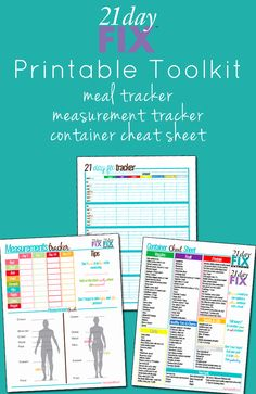 21 Day Fix Printable Toolkit #21DayFix #Beachbody #Printable