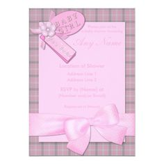 baby shower invitations for girls   Pretty in Pink Baby Girl Baby Shower Invitations from Zazzle.com