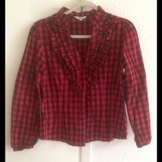 Red And Black Plaid Checkered Cotton Blouse Top Size: Small  Measurements: Bust- 34 inches  Waist- 26 inches  Sleeve Length- 14 inches  Color: Red and Black  Material: 100% Cotton  Condition: Like new Note: This item may have been worn but has no visible signs of wear. Capacity Tops Button Down Shirts