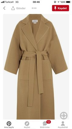 Nadire Atas on Classic Elegance in Fashion Belted Wool-Blend Wrap Coat Material: Wool Blends: Polyester Loewe Inspired Coats Oversized Mantel, Oversized Coat, Brown Wool Coat, Long Fur Coat, Wool Coats, Camel Coat Outfit, Mantel Beige, Mode Mantel, Outfit Invierno